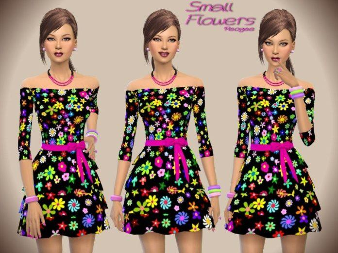 Яркий сарафан с цветами от Paogae для Sims 4