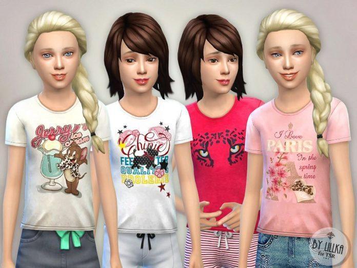 Детская футболка с принтом от lillka для Sims 4
