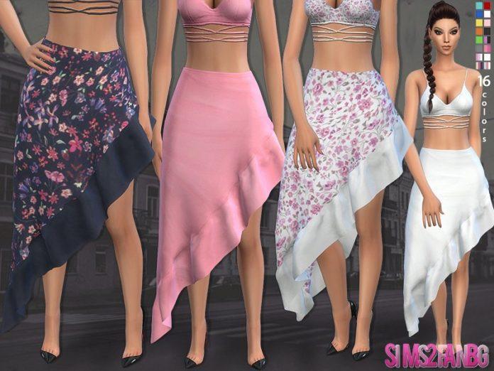 Летняя юбка с воланами sims2fanbg для Sims 4