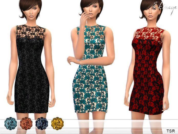 Кружевное платье без рукавов от ekinege для Sims 4