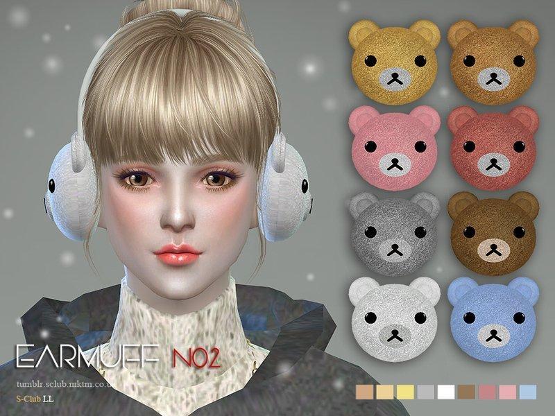Зимние наушники с мишками от S-Club для Sims 4
