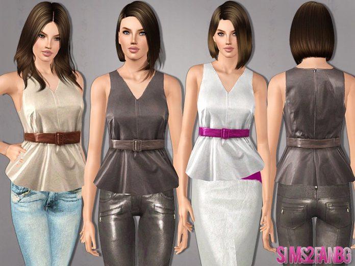 Кожаный женский топ от sims2fanbg для sims 3