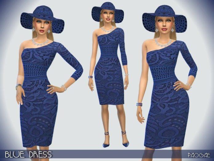 Синие плате и шляпка от Paogae для Sims 4