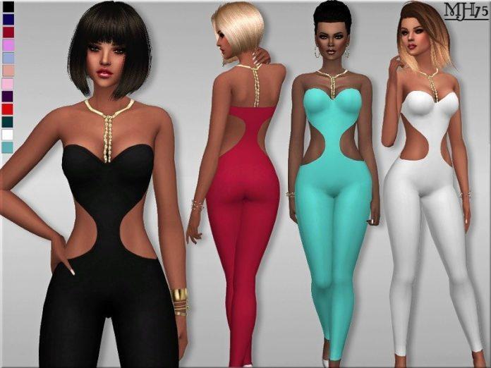 Комбинезон с вырезами на боках от Margeh-75 Sims 4