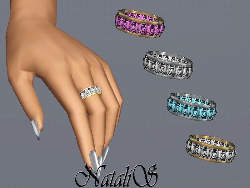 Кольцо с кристаллами багетной огранки от NataliS для Sims 3