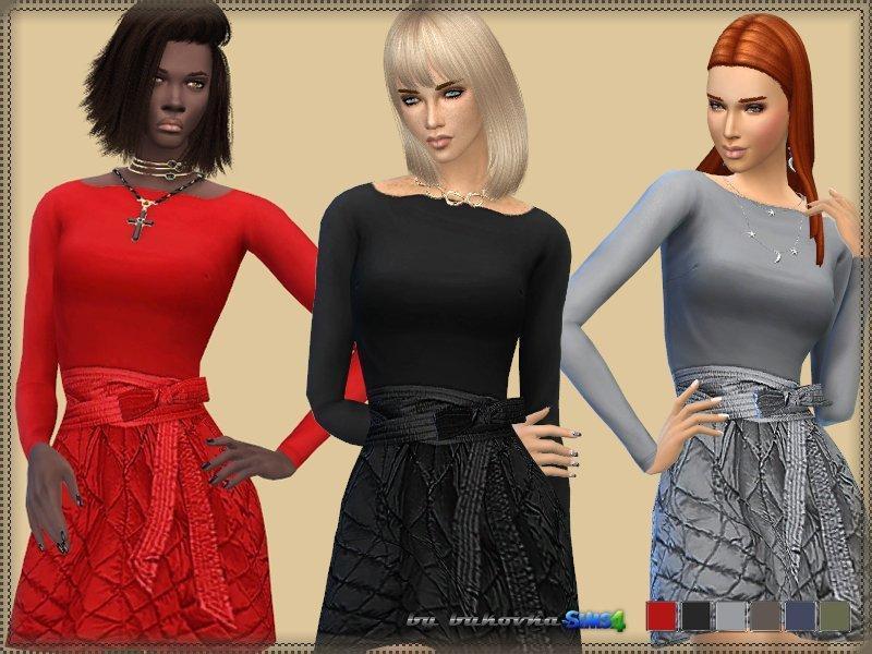 Платье со стеганной юбкой от bukovka для Sims 4