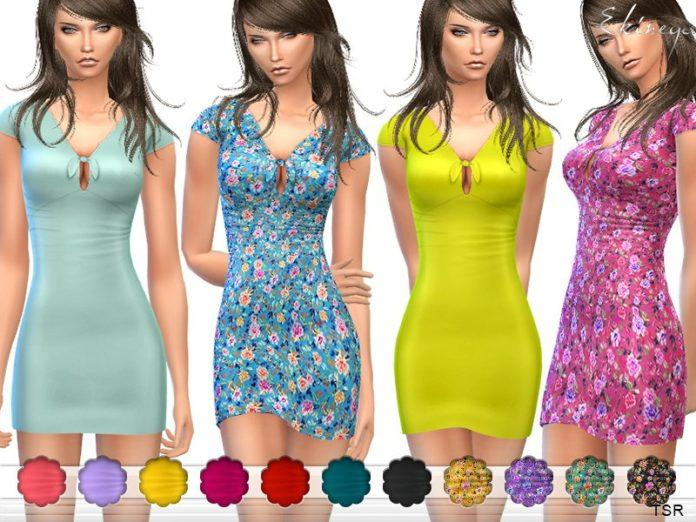Короткое платье с узелком на груди от ekinege Sims 4