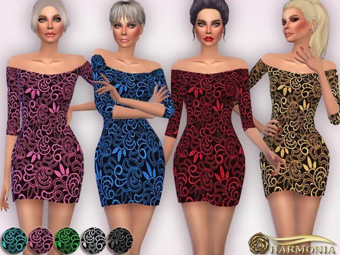 Вечернее платье от Harmonia для Sims 4