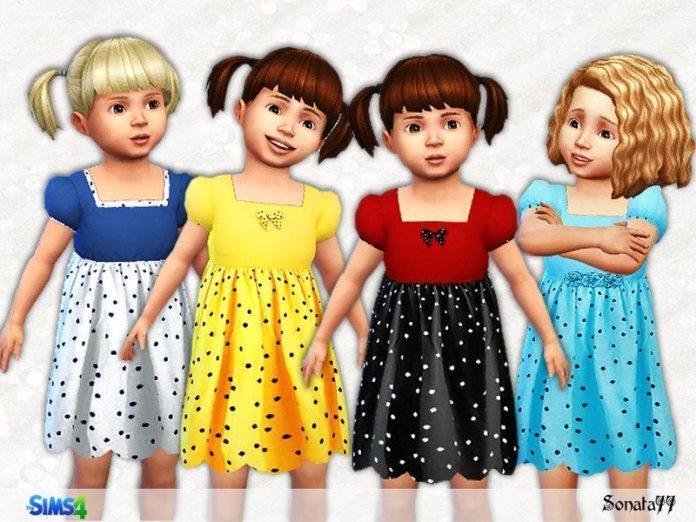 Платье в горошек для девочек от Sonata77 для Sims 4