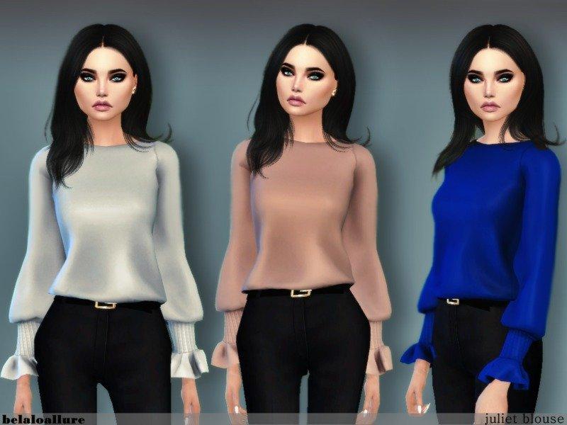 Шелковая блуза от belal1997 для Sims 4