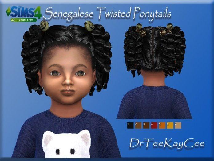 Сенегальские скрученные хвостики от drteekayce для Sims 4