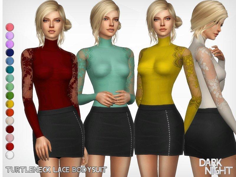 Женская водолазка с кружевом от DarkNighTt для Sims 4