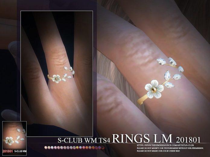 Кольцо с цветочками от S-Club для Sims 4