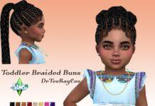 """Детская прическа """"Плетеные булочки"""" от drteekaycee для Sims 4"""
