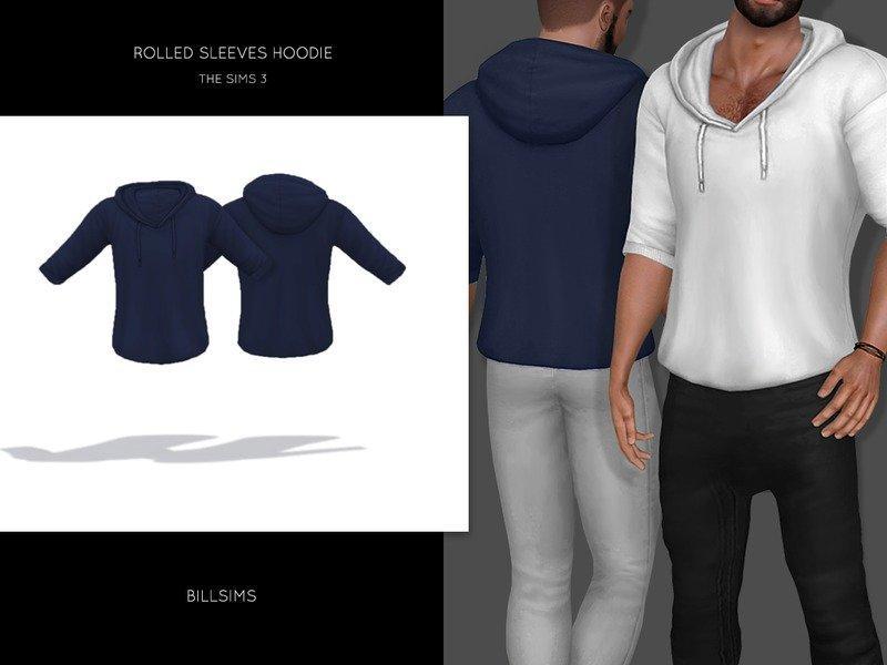 Мужская толстовка с подвернутыми рукавами от Bill Sims для Sims 3