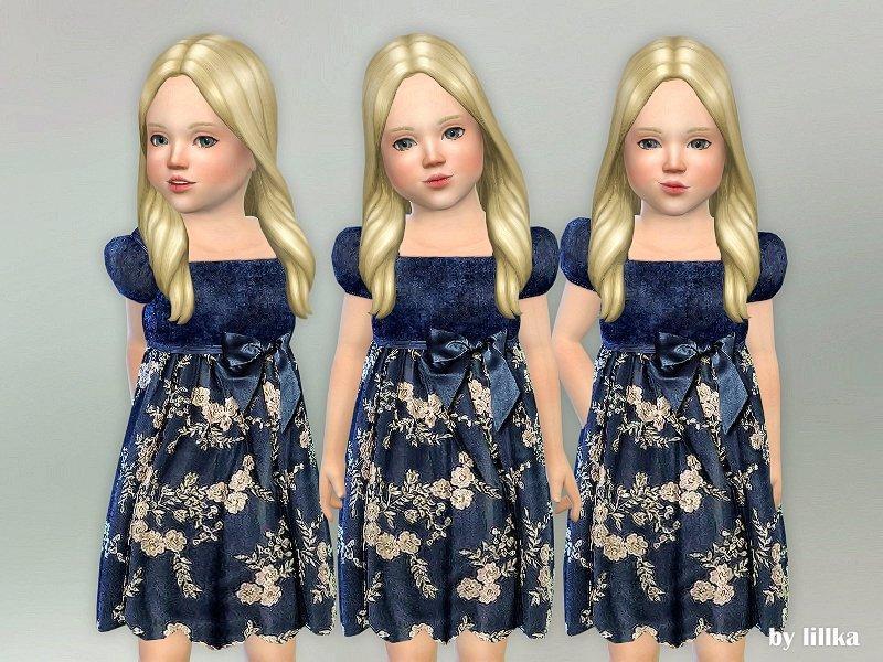 Синее бархатное платье для девочек от lillka для Sims 4