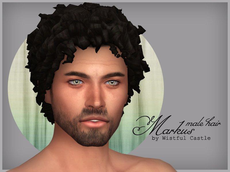"""Мужская прическа """"Маркус"""" от WistfulCastle для Sims 4"""