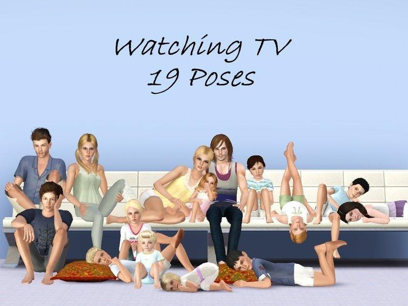 Позы для просмотра телевизора от jessesue для Sims 3