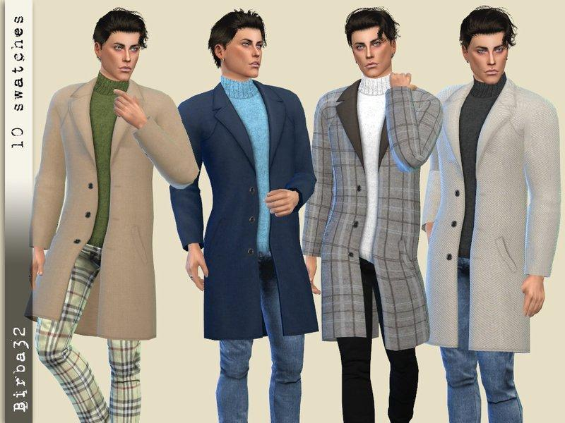 Мужское пальто со свитером от Birba32 для Sims 4
