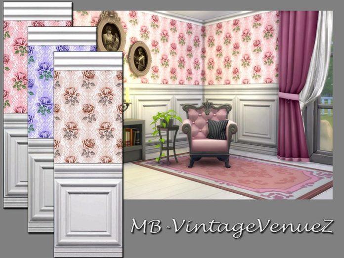 Винтажные обои с панелями от matomibotakiдля Sims 4