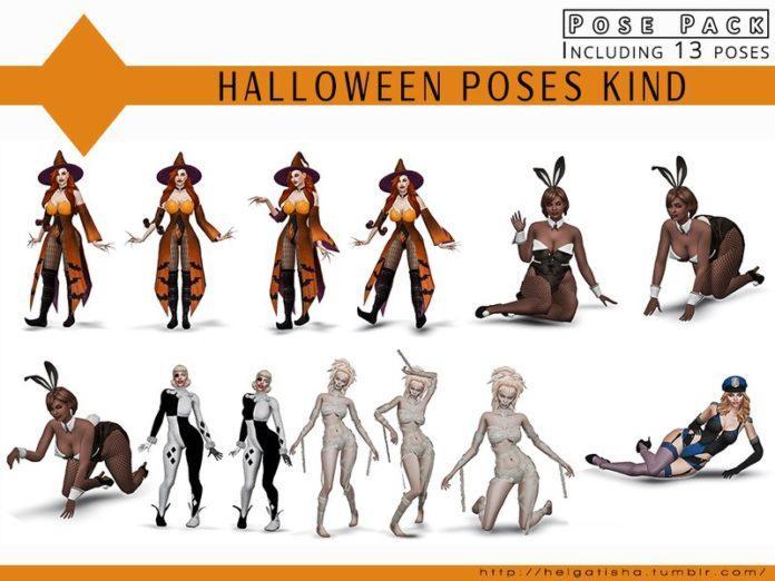 Набор поз для Хеллоуина от HelgaTisha для Sims 4