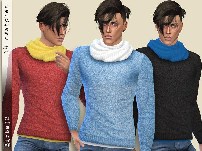 Мужской свитер с шарфом от Birba32 для Sims 4
