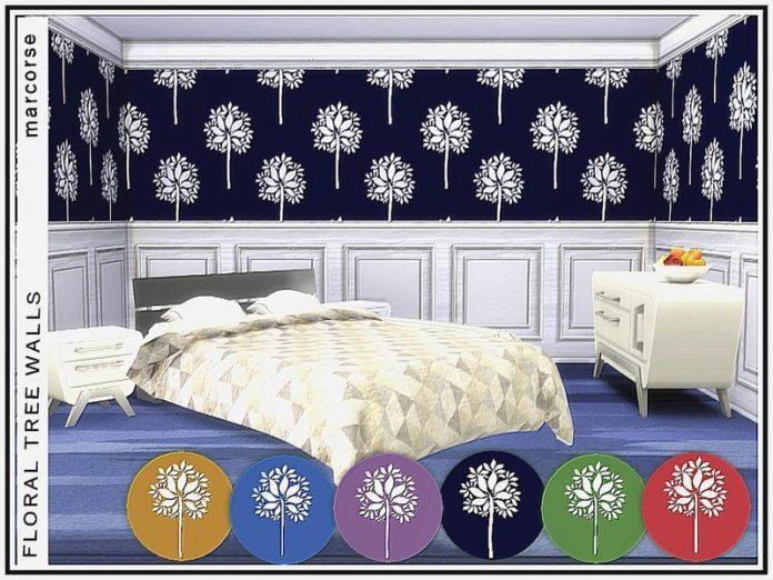 Обои с белым деревом от marcorse для Sims 4