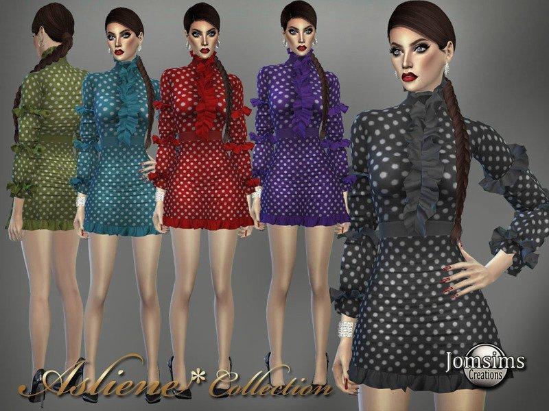 Платье в горошек с оборками от jomsims для Sims 4