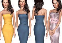 Платье с поясом от ekinege для Sims 3