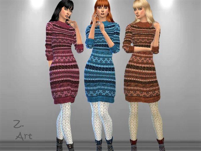 Вязаное платье до колен от Zuckerschnute20 для Sims 4