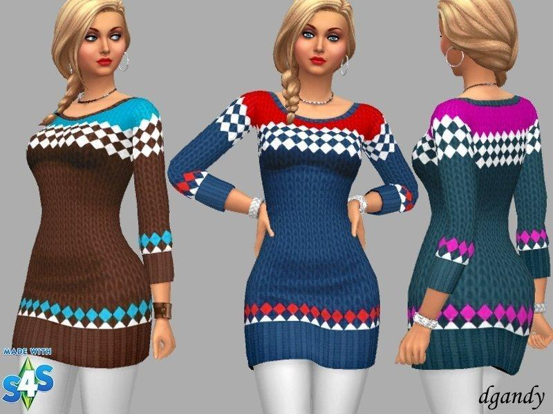 Вязаное платье-свитер с ромбиками от dgandy для Sims 4