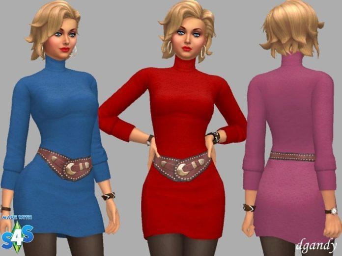 Короткое платье с высоким воротом от dgandy для Sims 4