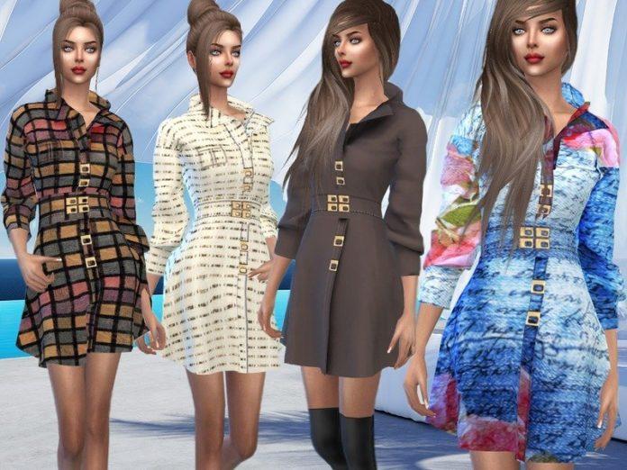 Осеннее платье от Sims House для Sims 4
