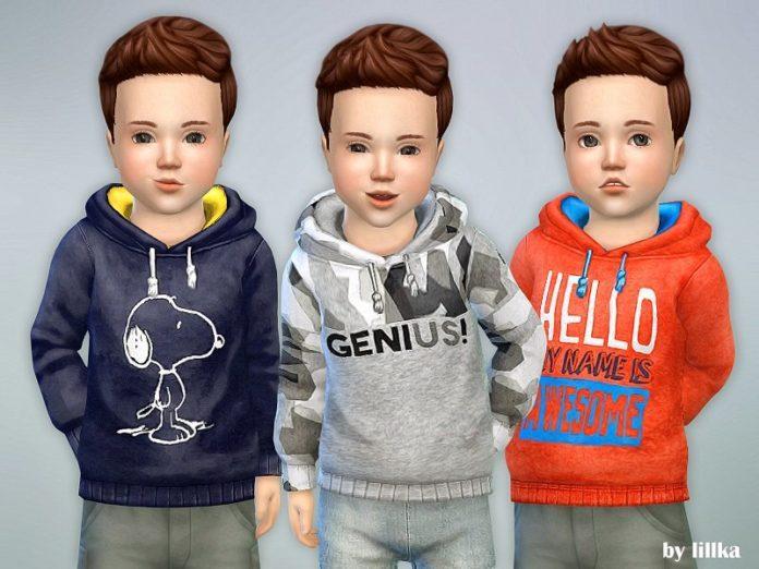 Худи для малышей от lillka для Sims 4