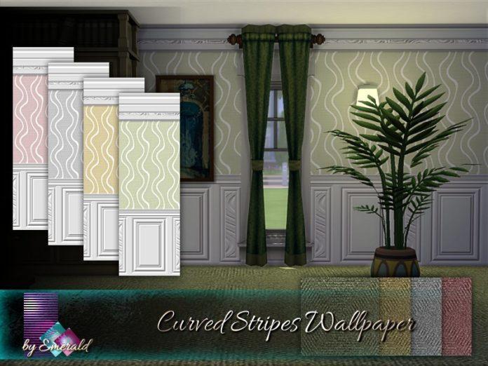 Обои с изогнутыми линиями от emerald для Sims 4