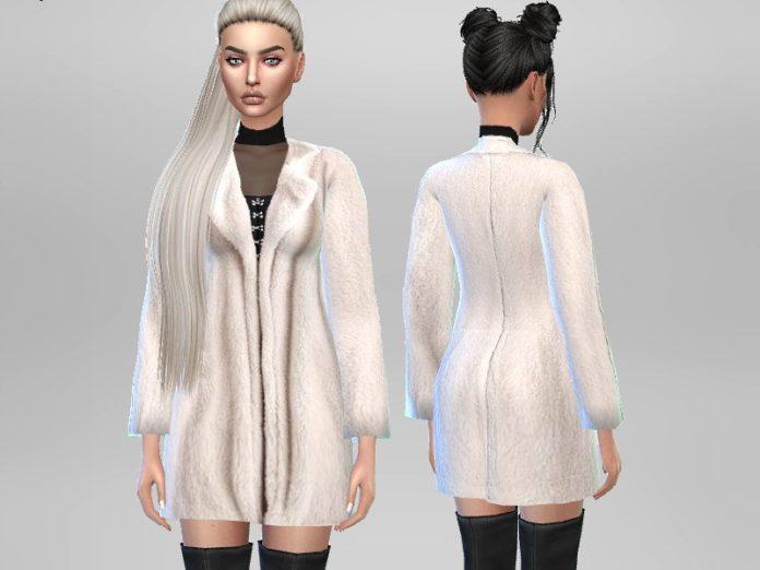 Светлая шубка от Puresim для Sims 4