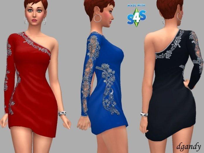 Короткое вечернее платье на одно плечо от dgandy для Sims 4