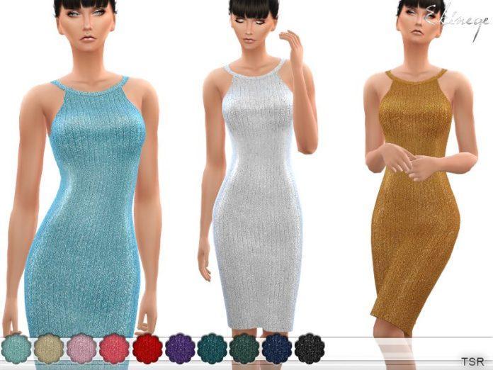 Вязаное платье с люрексом от ekinegeдля Sims 4