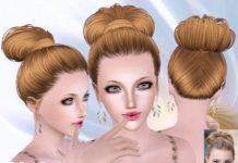 Пучок с косой от Skysims для Sims 3
