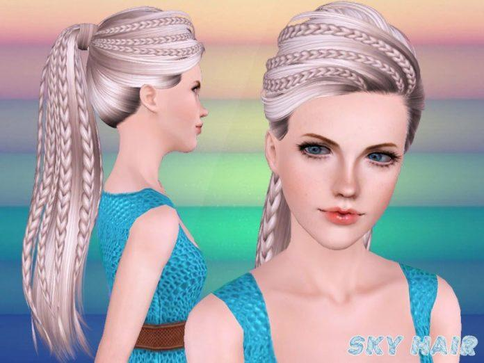 Хвост с косичками от Skysims для Sims 3