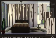 """Набор обоев """"Ветки"""" от Devirose для Sims 4"""