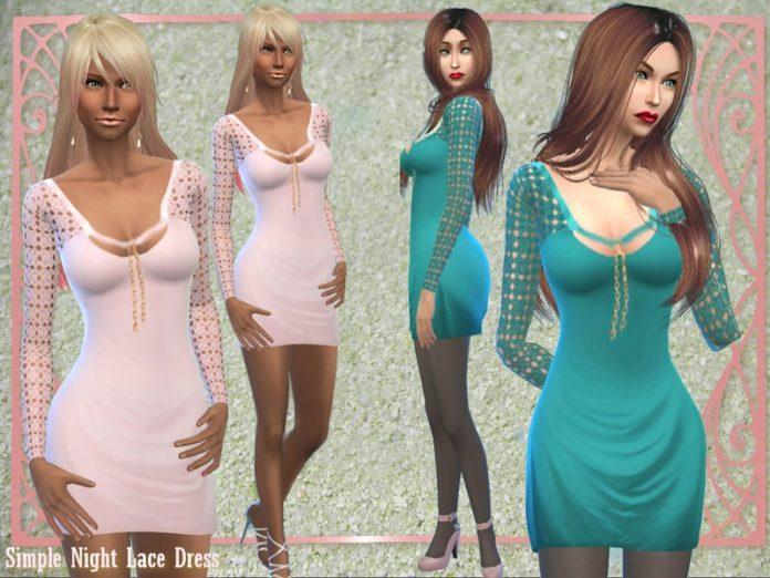 Мини-платье с кружевным рукавом от alin2 для Sims 4