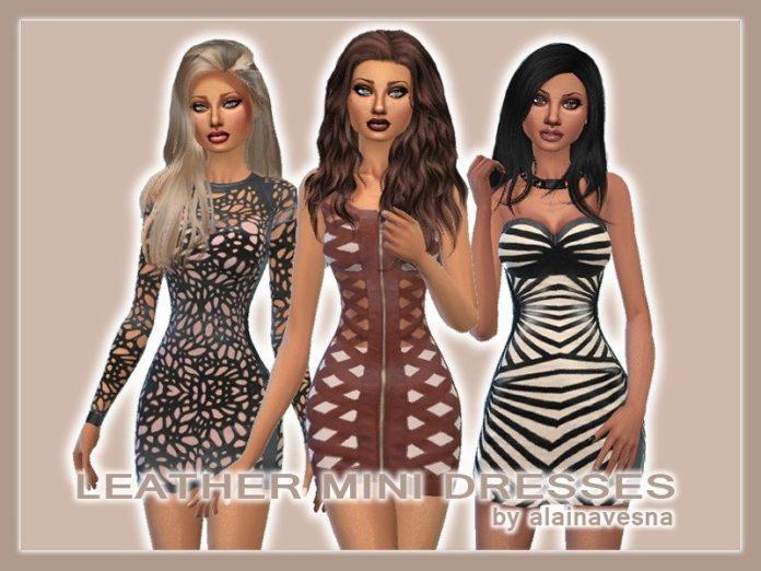 Набор кожаных платьев от alainavesna для Sims 4