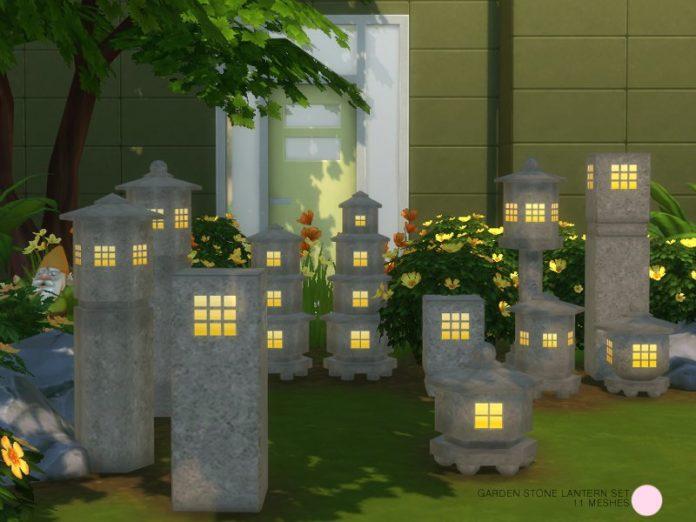 Каменные садовые светильники от DOT для Sims 4
