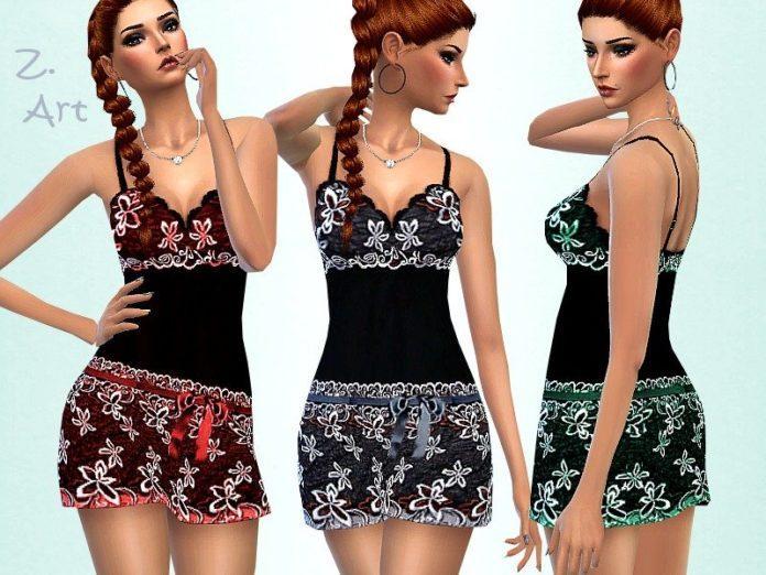 Шелковая ночнушка от Zuckerschnute20 для Sims 4