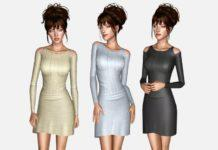 Платье с открытыми плечами от pizazz для Sims 3