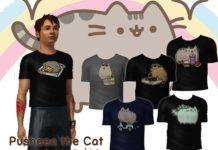 Мужская футболка с кошкой Пушин от Downy Fresh для Sims 3