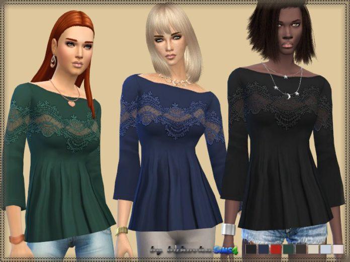 Блузка с кружевом от bukovka для Sims 4