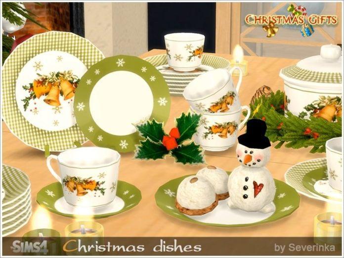 Набор рождественской посуды от Severinka_ для Sims 4