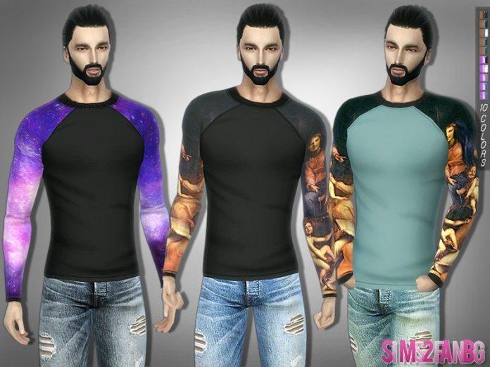 Мужская футболка с длинным рукавом от sims2fanbg для Sims 4